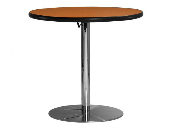 "30"" Round Cafe Table w/ Orange Top and Hydraulic Base (CECA-028)